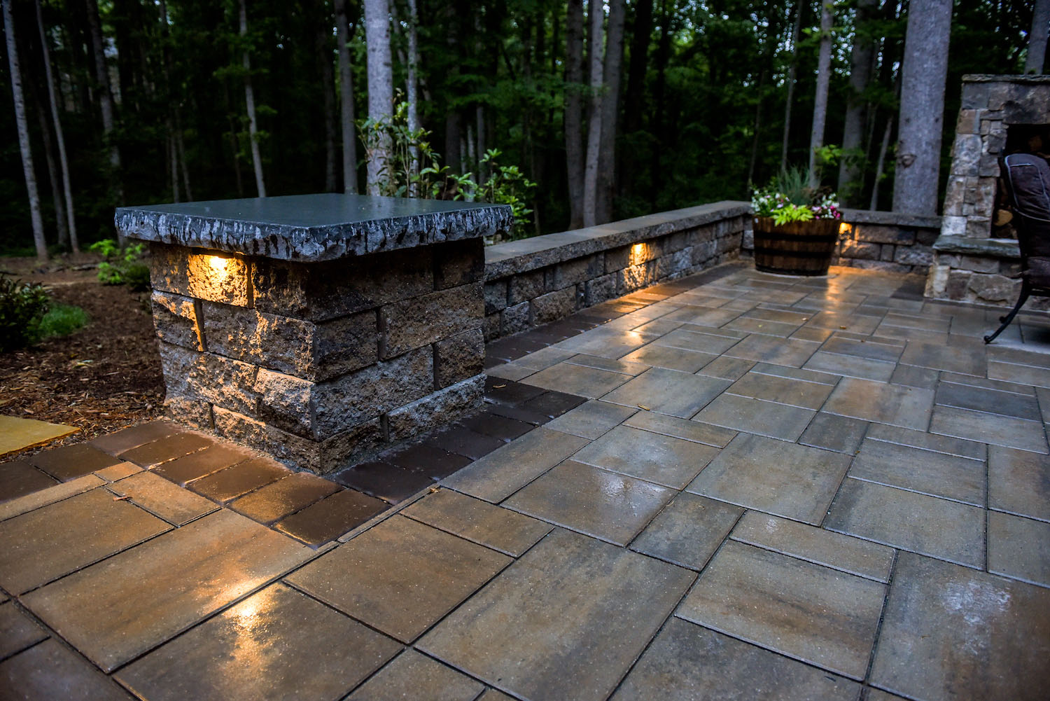 Paver Patio with Outdoor Fireplace